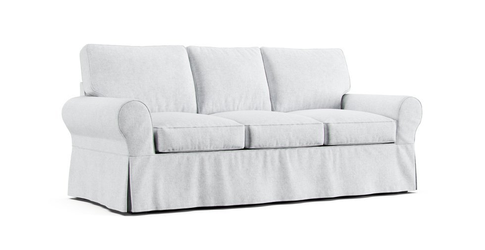 Boxed Seats Loose Fit Round Arm Sofa, Round Couch Slipcovers