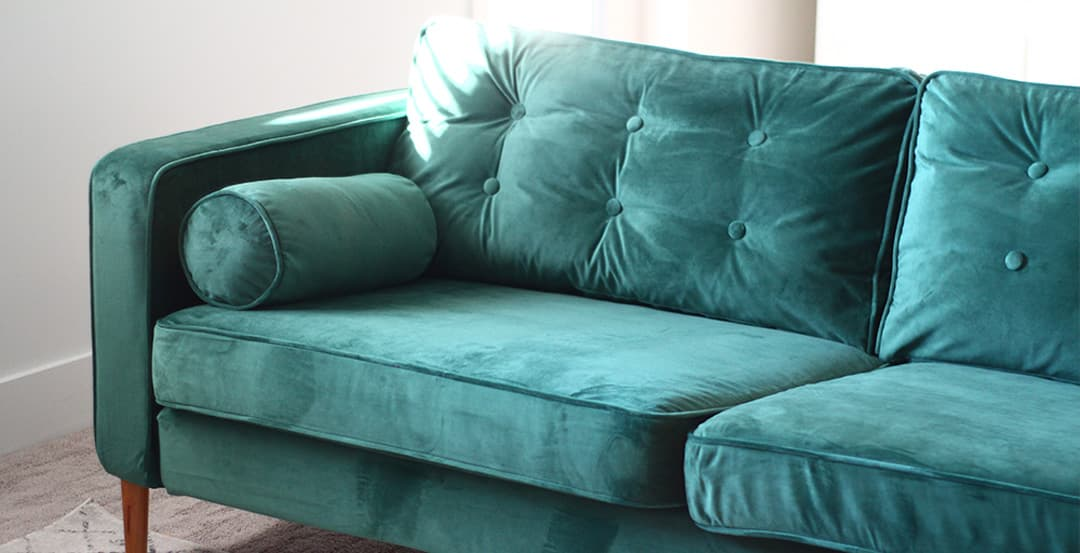 Green sofa cover on rove concepts sofa
