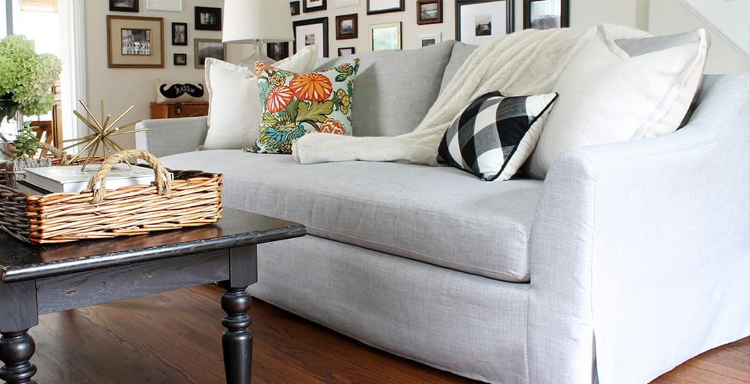 third party custom white William Sonoma sofa cover