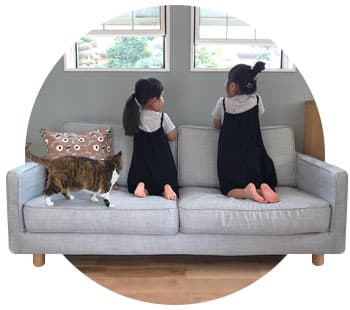 Muji 2 Seater Slim Arm Slipcover Kino Frost from Comfort Works