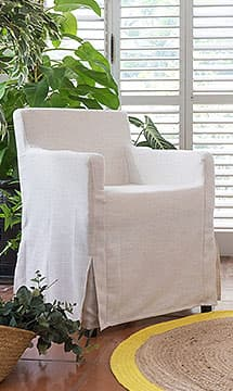 IKEA Nils Armchair covered in Luna Flax Linen Slipcover by Comfort Works