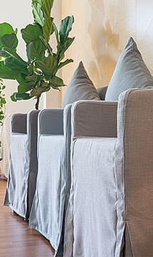 IKEA Nils Armchair covered in Luna Flax, Luna Sky and Luna Fog Linen Slipcover by Comfort Works