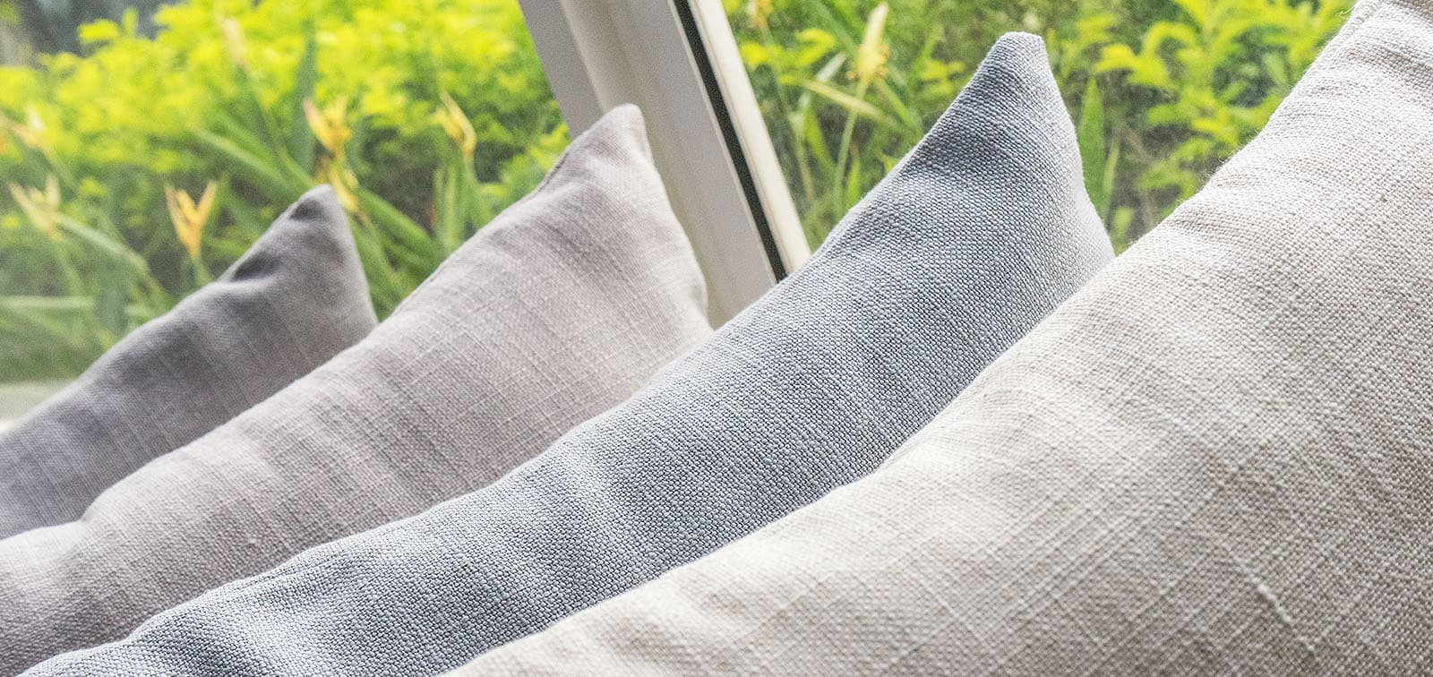 Custom Sofa Cushions Covered in Linen Covers by Comfort Works