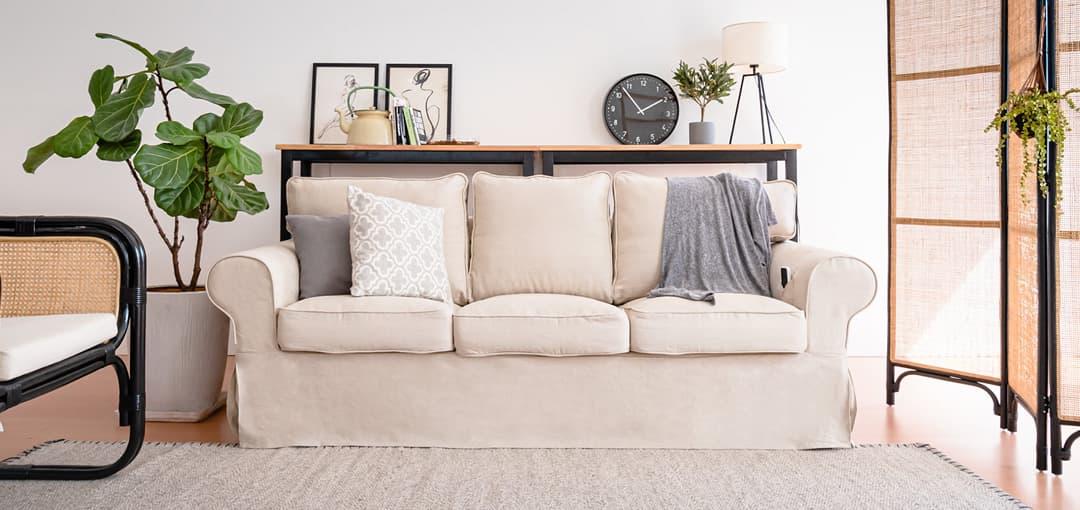 Leinen Sofa Bezug auf Ektorp 3 Sitzer Sofa