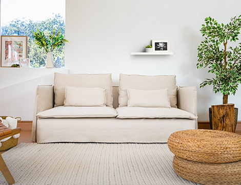 100% linen cover on a wedge arm sofa