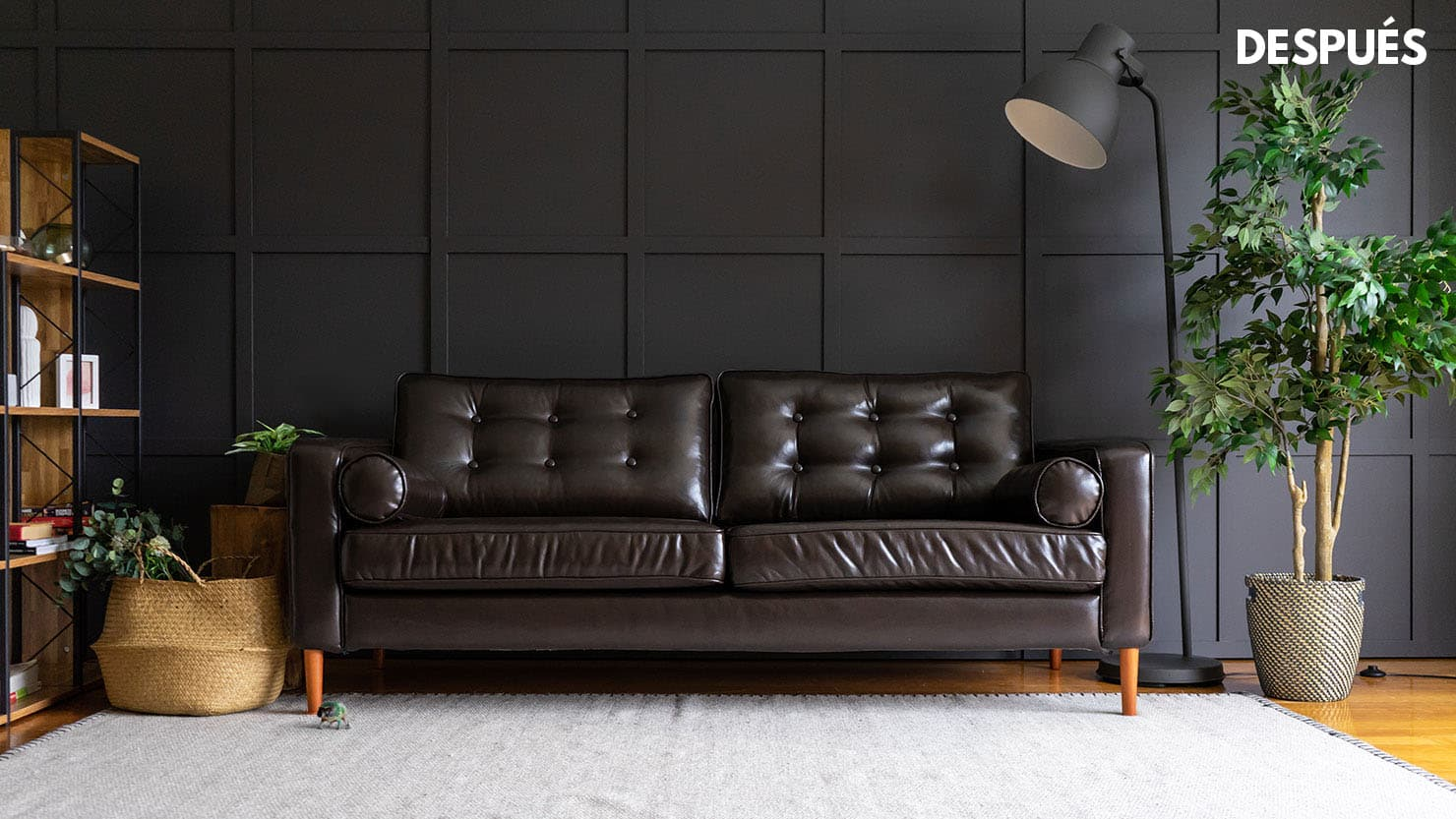 IKEA Karlstad sofa cover covered in Urbanskin Kramfors leather slipcover with USB port built in by Comfort Works