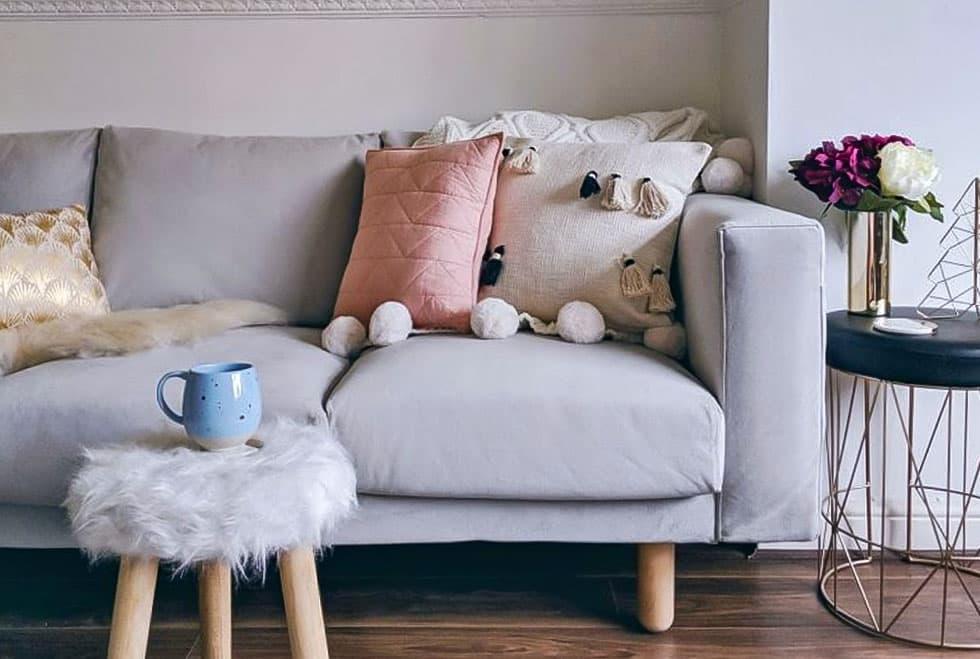 IKEA Norsborg Sofa covered in Rouge Ash velvet slipcover by Comfort Works