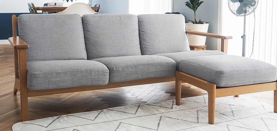 UNICO sofa slipcover boxed cushions in kino ash