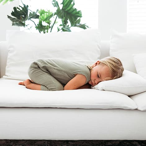 IKEA Soderhamn Luna Flax Linen Blends Kid Sleeping On The Couch