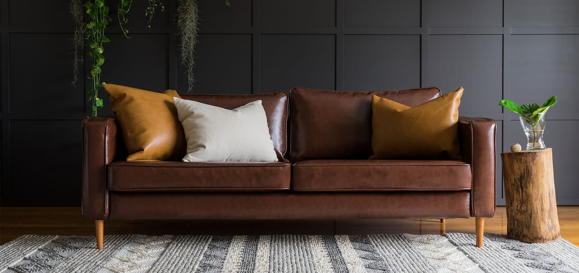 Bon IKEA Karlstad 3 Seater Sofa Covered With Urbanskin Chestnut Bycast Leather  Collection Slipcover From Comfort Works