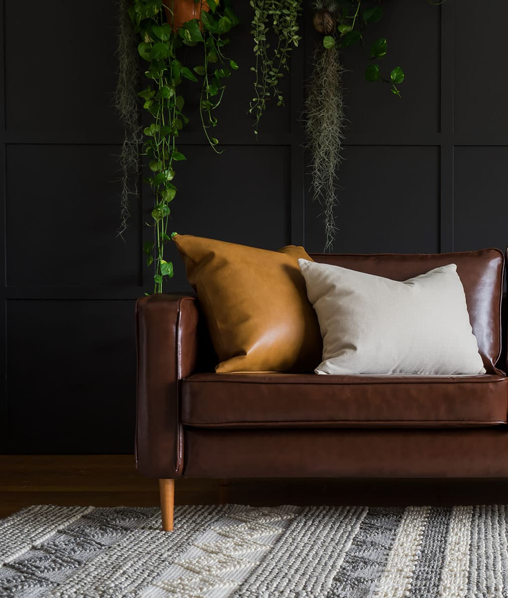 IKEA Karlstad 3 Seater Sofa covered with Urbanskin Chestnut Bycast Leather Collection Slipcover from Comfort Works