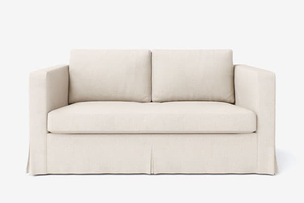 example of Falda Larga (Multi-pliegues) sofa cover with Liege Biscuit fabric