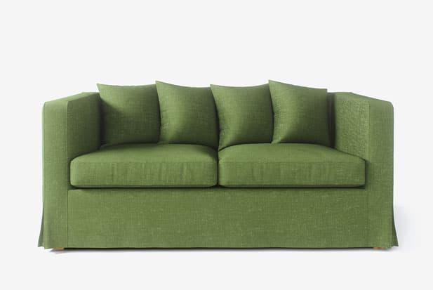 example of Falda Larga (Pliegues de Esquina) +Cojines apilados sofa cover with Nomad Green fabric