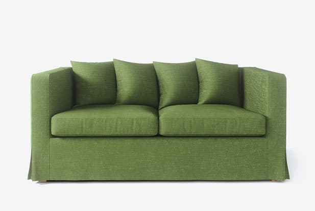 example of Long skirt (Corner Pleated) + Scattered Cushions sofa cover with Nomad Green fabric