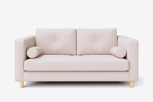 example of coupe ajustée + capitonnage un bouton + traversins sofa cover with Rouge Blush fabric