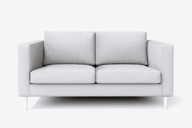 example of Snug Fit + Bailey Legs (Painted White) sofa cover with Kino Ash fabric