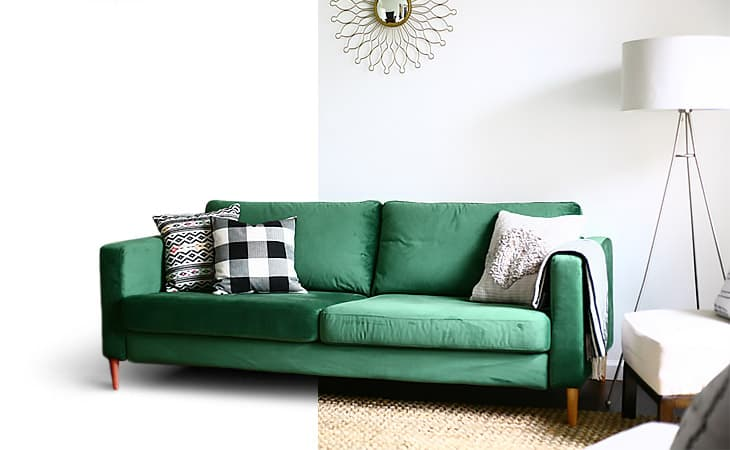 IKEA Karlstad sofa in velvet green (Rouge Emerald) custom sofa covers. Slipcovers made by Comfort Works
