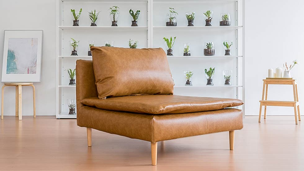 IKEA Soderhamn Sectional Chaise Sofa Covered in Savannah Saddle Bycast Leather Slipcover Customisation Options by Comfort Works