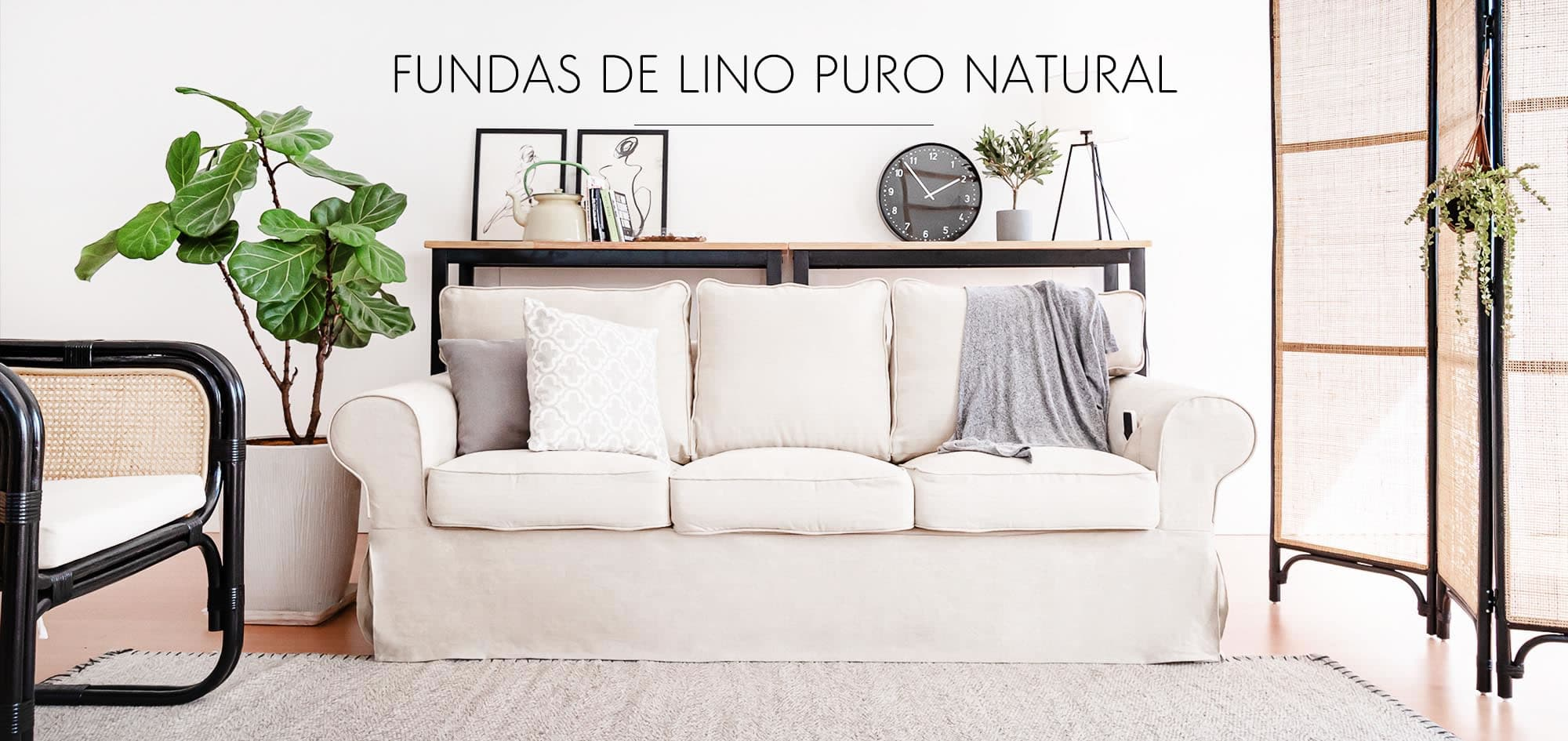 Fundas de tela de lino natural
