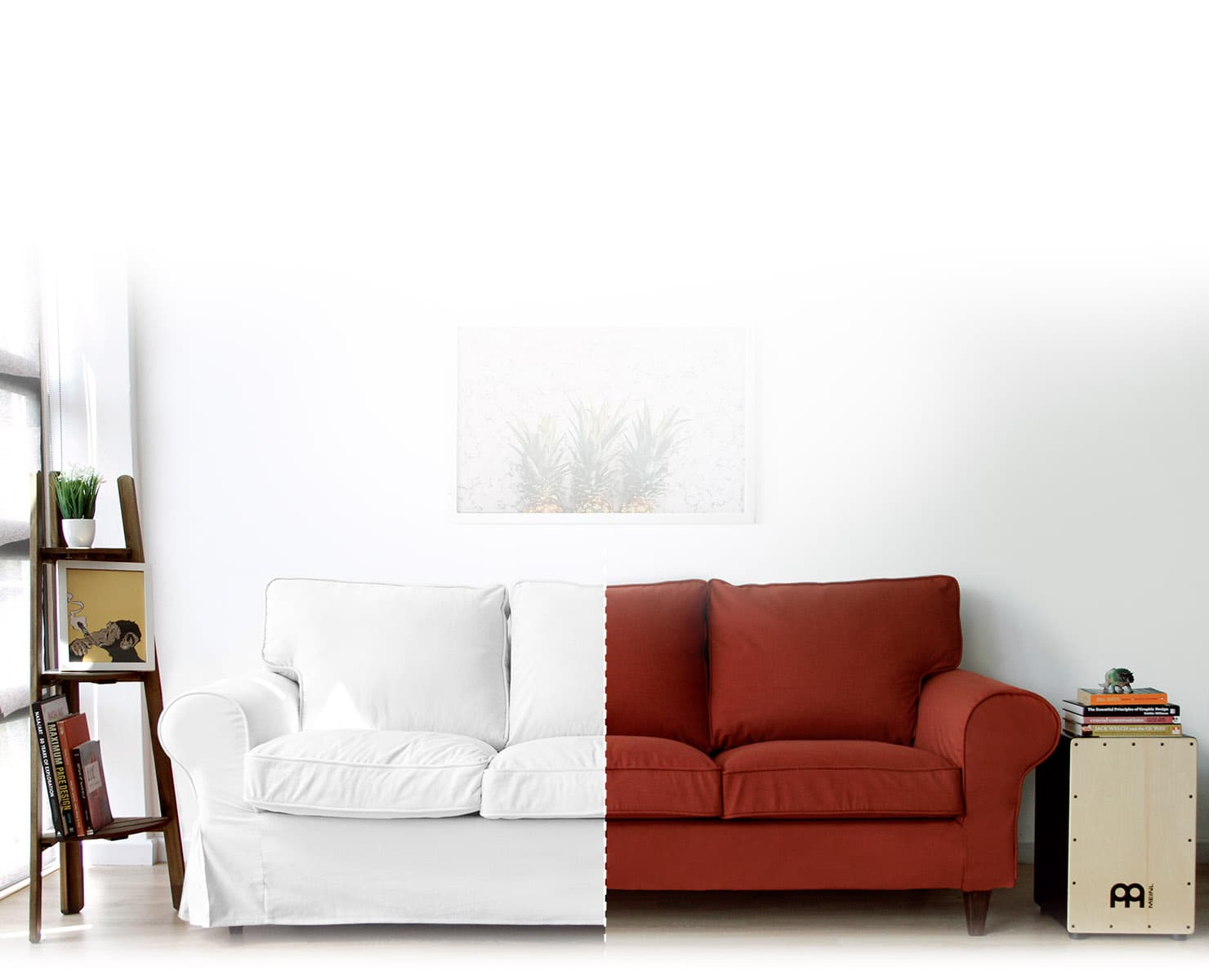 IKEA Ektorp in Gaia White Skirted and Shire Rust Snug Fit