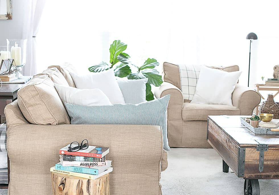 IKEA's Ektorp armchairs in handmade custom sofa covers, by Comfort Works