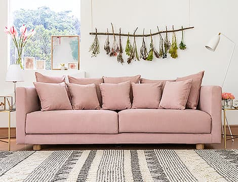 IKEA Stockholm 2017 Sofa Covers Madison Rose Cotton Blends Couch Slipcover Front