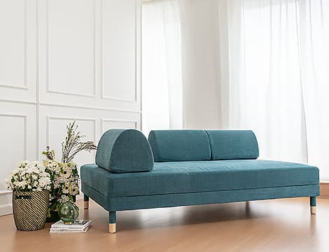 IKEA Flottebo Sofa Covers Madison Teal Cotton Blends Couch Slipcover Front