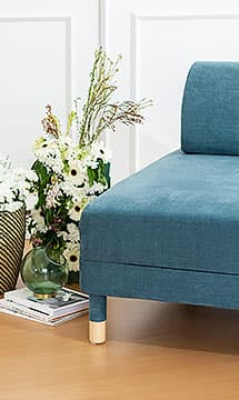 IKEA Flottebo Sofa Covers Madison Teal Cotton Blends Couch Slipcover Close Up Flower