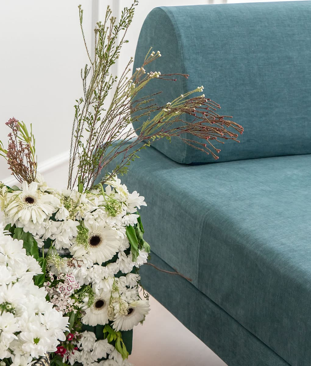 IKEA Flottebo Sofa Covers Madison Teal Cotton Blends Couch Slipcover Close Up