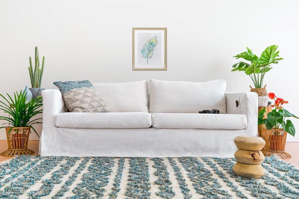 White linen in corner pleats