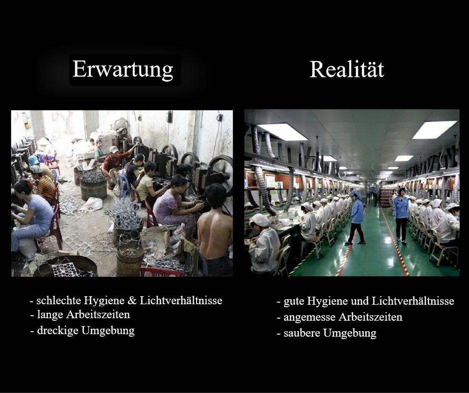 Die Qualität der Produktionshallen in China