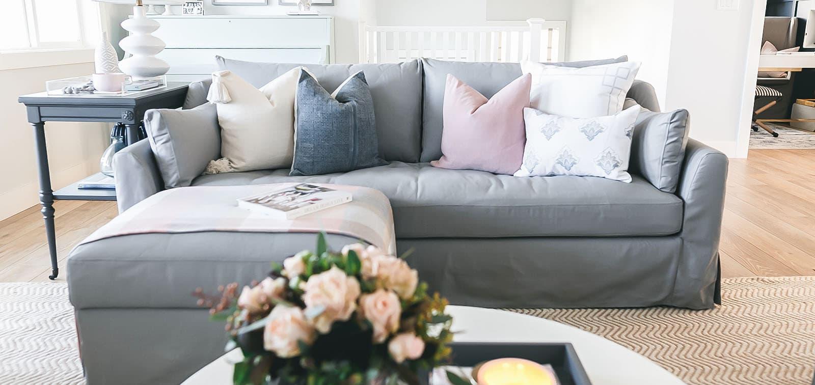 Westwing Ersatz Sofabezug Baumwolle hellgrau