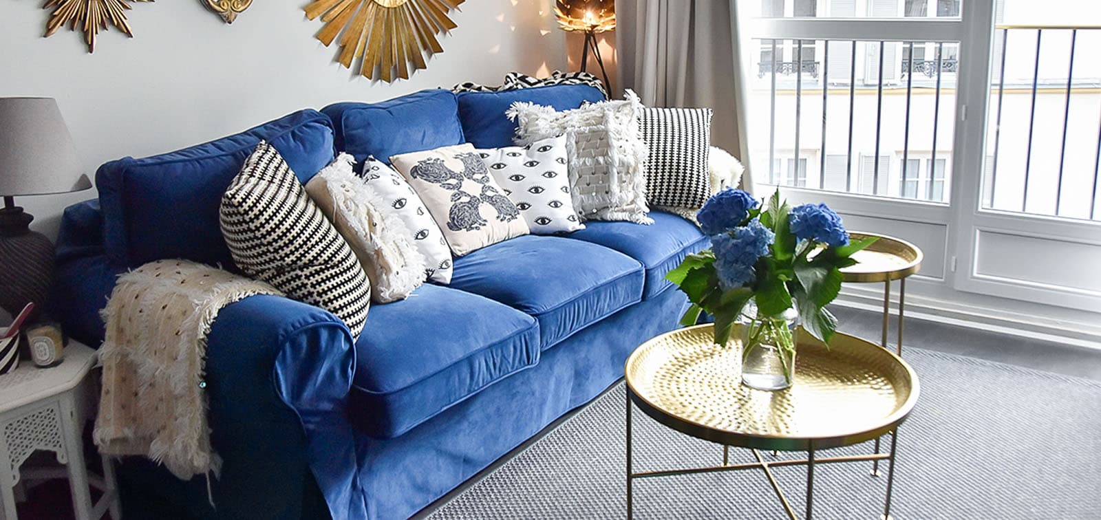 Westwing Sofabezug Samt indigoblau