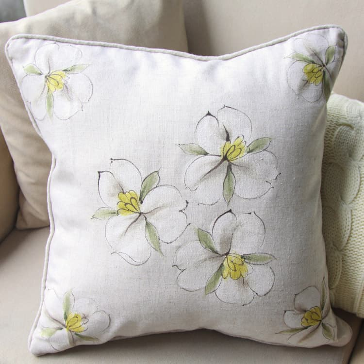 Hand Painted Magnolia Pillow Cover