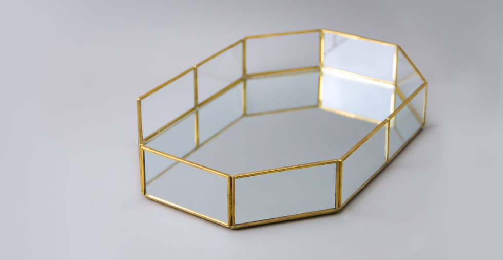 Mirrored Octagonal Tray