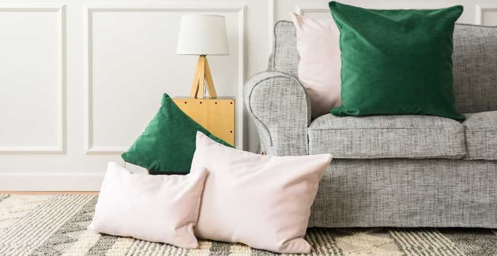 Set of 2, Emerald and Blush Cushion Covers