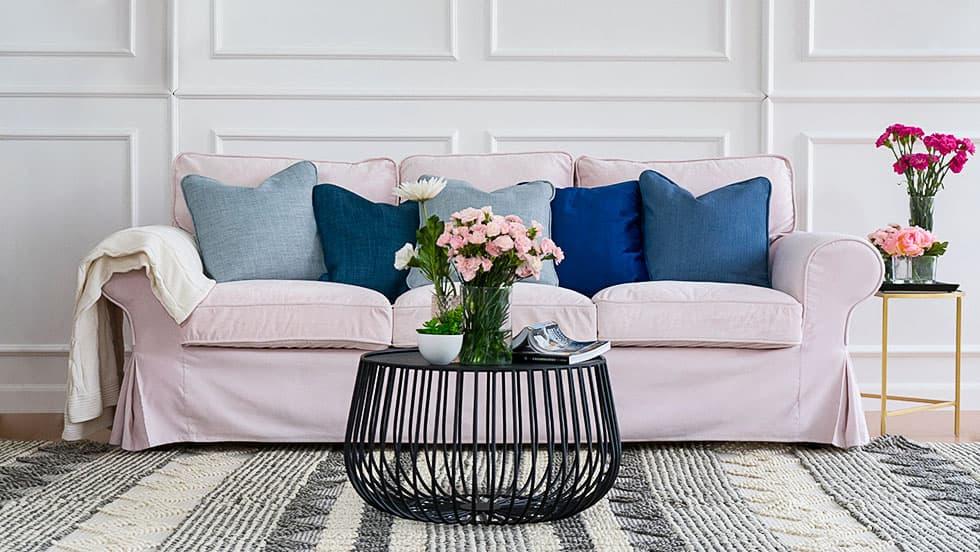 IKEA Sofa Covers Ektorp 3 Seater Rouge Blush Velvet Blends Couch Slipcover