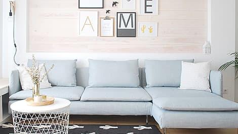 IKEA Soderhamn 3er Sofabezug Luna Sky Leinenmischung