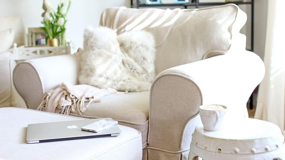 IKEA Ektorp Sesselbezug aus Liege Biscuit Leinen