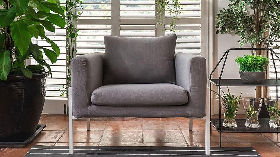 Ikea Armchair Koarp Covers Luna Grey Linen Blends Couch Slipcover