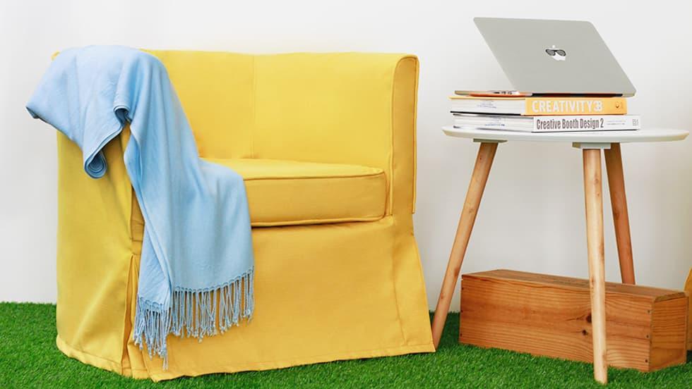 IKEA Solsta Sesselbezug Shire Mustard Wolle