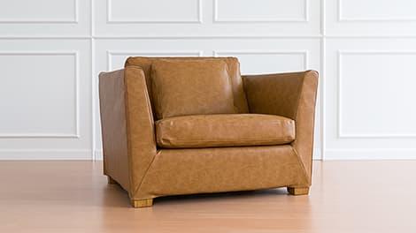 IKEA Stockholm Sesselbzug aus Savannah Saddle Bycast-Leder