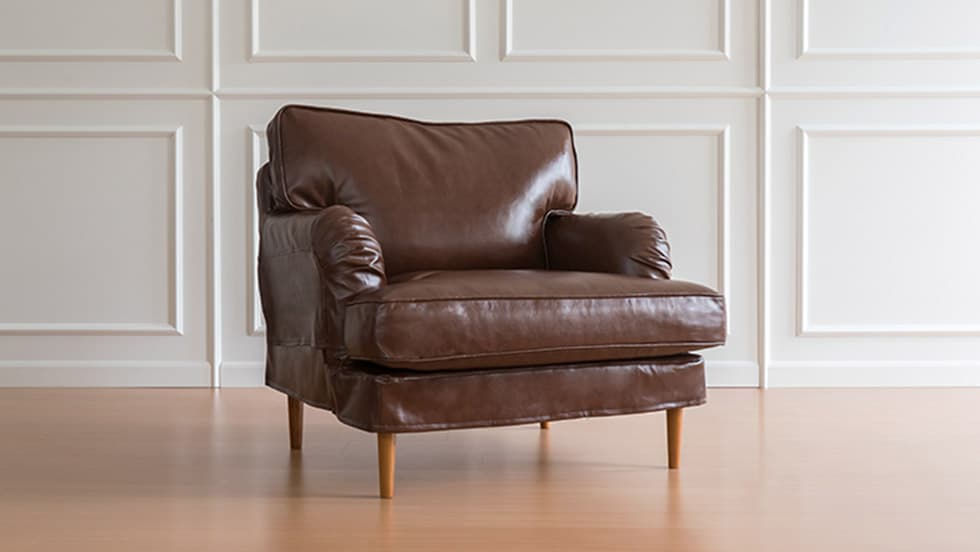 IKEA Stocksund Armchair Covers Urbanskin Chestnut Bycast Leather Couch Slipcover