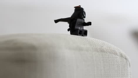 The magnificent Darth Vader sitting on the IKEA Armrest Protectors Cover Liege Eggshell Linen Blends Couch Slipcover