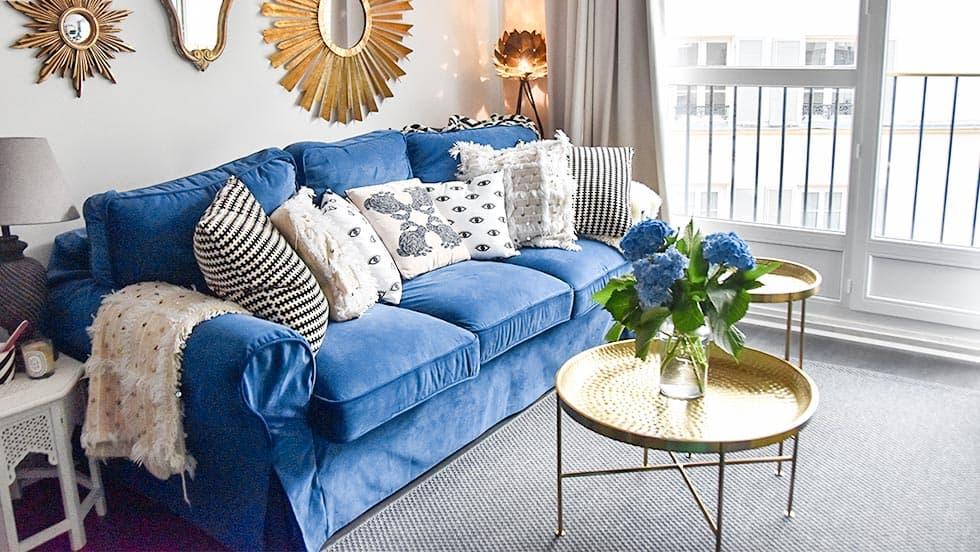 IKEA Ektorp Sofa Bed Covers Rouge Indigo Velvet Blends Couch Slipcover