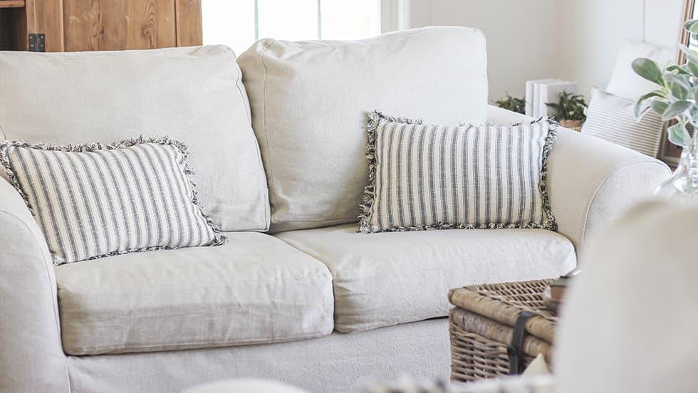 Maßgeschneiderter 2er Sofabezug aus Modena White Bycast-Leder
