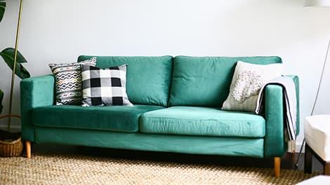 IKEA Pottery Barn Muji Karlstad Sessel Sofa Bezug Rouge Turquoise Samt Comfort Works
