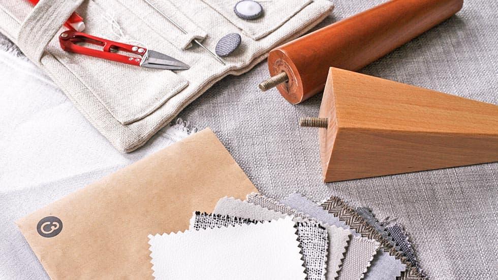 Knopfheftung Knöpfe IKEA Sofabeine Comfort Works Stoffproben Stoff per Meter Sofabezug