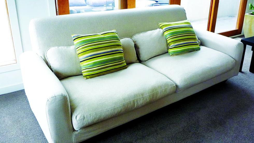 IKEA Nikkala Sofabezug aus Liege Biscuit Leinen