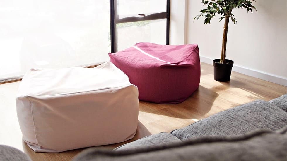 Muji Sofabezug Sitzsack Rouge Blush Samt Herringbone Magenta Baumwolle